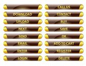 Brown And Golden Rounded Glossy Internet Buttons