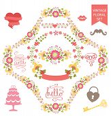 Cute  floral  wreath set with wedding elements