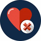 Heart sign web icon with delete glyph