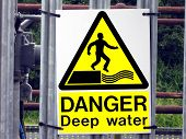 Danger deep water sign. No entry