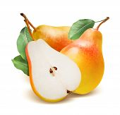 Comice Pears Whole And Split Isolated On White