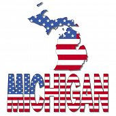 Michigan map flag and text vector illustration