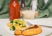 Breaded Chicken Breast With Broccoli Rice