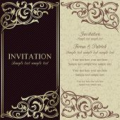 Baroque invitation, dark brown and beige
