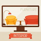 Illustration with computer and furniture in retro style.