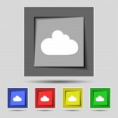Cloud sign icon. Data storage symbol. Set colourful buttons. Vector