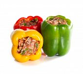 Multicolor Stuffed Bell Pepper Filled With Ground Meat, Rice, Onion