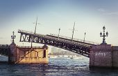 Raised Troizkiy bridge in Saint Petersburg, Russia