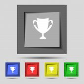 Winner cup sign icon. Awarding of winners symbol. Trophy. Set colourful buttons Vector