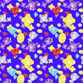 Gems crystals seamless Pattern