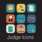 stock photo of law order  - Law judge icon set - JPG