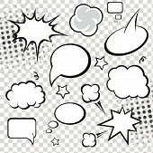 Comic speech bubbles and comic strip on monochrome  background vector
