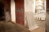 Stone Slabs Of Buddhist ( Tripitaka Texts ) At Pagoda Of Nyan Shwe Kgua Temple In Myanmar.