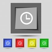 Clock sign icon. Mechanical clock symbol. Set colourful buttons. Vector