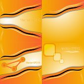 Set of orange and yellow abstract art water colour hand paint background. Vector