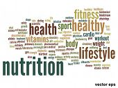 Vector eps concept or conceptual abstract health and nutrition word cloud or wordcloud on white back
