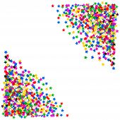 Colorful Star Shaped Confetti. Holidays Background