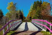 Bridge over a brook on the Confederation Trail in rural Prince Edward Island.  Also known as the Trans Canada Trail.