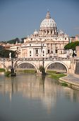 Picturesque landscape of St. Peters Basilica over Tiber in Rome, Italy
