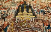 stock photo of mural  - Over 300 year old mural paintings in Buak Khrok Luang Temple Chiangmai Thailand - JPG
