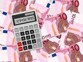Calculator On Ten Euro Background