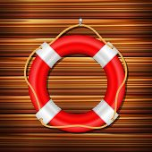 Life Buoy Wooden Background