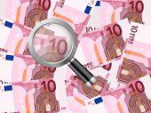 Magnifier On Ten Euro Background