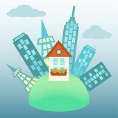 City Around Small House On A Globe