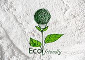 Eco friendly light bulb plant growing green and eco energy concept idea on wall texture background d