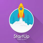 Vector rocket startup concept in flat style