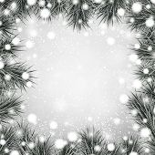 Silver defocused christmas background. Spruce branches. Vector illustration.