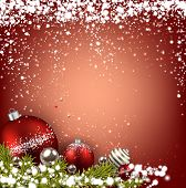 Abstract red christmas background with fir branches and balls. Vector illustration.
