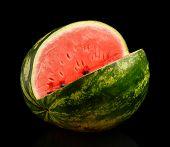 Studio Shot Whole Watermelon With Hole Isolated Black