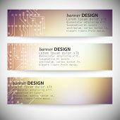 Set of horizontal banners. Microchip backgrounds, electronics circuit, EPS10 vector illustration