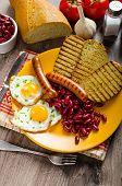 English Breakfast - Garlic Toast, Fried Egg, Beans And English Breakfast, Toast, Egg, Beans, Sausage