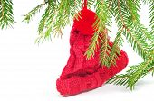 Christmas toy red knitted hat
