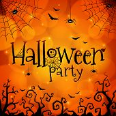 Halloween party orange vector greeting card