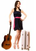 Girl With Guitar And Suitcase