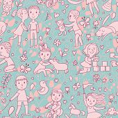Gentle seamless pattern with children playing with toys. Vector background with cartoon boys and gir