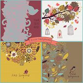 Stylish set with four floral cards with flowers, birds, cages. Summer concept backgrounds in cartoon