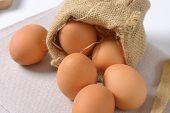 eggs in burlap sack