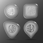 Globe and array down. Glass buttons. Vector illustration.