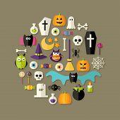 Halloween Flat Icons Set Over Dark Brown