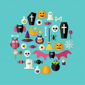 Halloween Flat Icons Set Over Blue