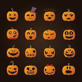 Halloween Cartoon Pumpkins Icons Set.