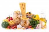 raw food, pasta and vegetables