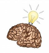 Creative Brain With Light Bulb - Illustration