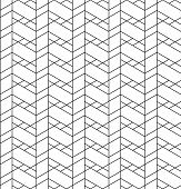 stock photo of trapezoid  - Black and white geometric seamless pattern with line rhombus trapezoid and triangle eps10 vector - JPG