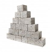 Pyramid made of small granite rock blocks.