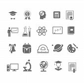 Black and white silhouette school  education icons on  vector illustration